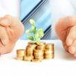 Man hands with coins, investment and money concept - Stock Photo