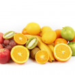 Citrus fruits isolated on white background - Stock Photo