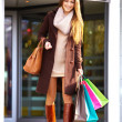Full length happy young woman with shopping bags - Stock Photo