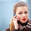 Businesswoman using mobile phone outdoor - Stock Photo