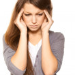 Young woman with her eyes closed in pain - Foto Stock
