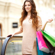 Smiling young woman with shopping bags in mall - Stock Photo