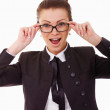 Portrait of young business woman in glasses - Stock Photo