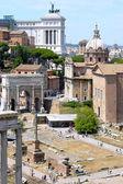 Roman Forum, church Santi Luca e Martina and Vittoriano — Stock Photo