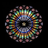Rose window in Strasbourg Cathedral, France — Stock Photo