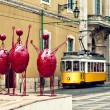 Three statues in Lisbon — Stock Photo