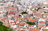 Tilt-shift view of Lisbon. Portugal — Stock Photo