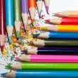 Colorful pencils with shaving — Stock Photo