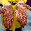 Henna painted hands — Stock Photo