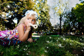 Young Girl with Whistle — Stock Photo