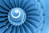 Titan blades of jet plane engine, blue light — Stock Photo