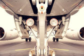 Undercarriage of jetplane, aircraft — Stock Photo