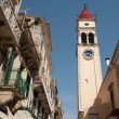 Bell tower in one of the small Corfu streets — Stock Photo