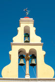 Typical Greek bell tower with three bells — Stock Photo