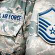 U.S. army air force emblem and rank on soldier uniform — Stock Photo