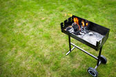 Barbaque in preparation, with fire — Stock Photo