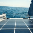 Solar cells on a sailing boat — Stock Photo