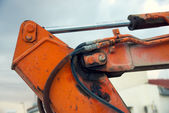 Part of the hydraulic system of an excavator — Stock Photo