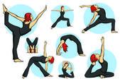 Yoga yapan bir kadın — Stok Vektör