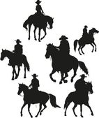 Zes cowboys — Stockvector
