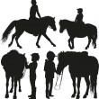 Four child with a pony — Stock Vector