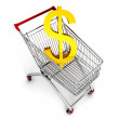 Cart with dollar — Stock Photo