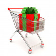 Gift in the cart — Stock Photo