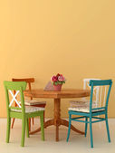 Mesa e cadeiras velhas — Foto Stock