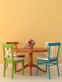 Oude stoelen en tafel — Stockfoto