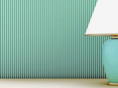 Lamp and striped wallpaper — Stock Photo