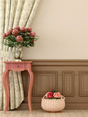 Pink table with flowers — Stockfoto