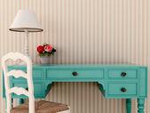 Blaue wark tisch und stuhl — Stockfoto