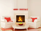 Christmas fireplace and a white chair — Stock Photo