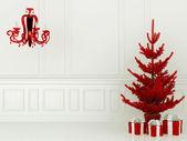 Czerwony drzewko i lampa — Zdjęcie stockowe