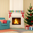 Christmas fireplace with blue chair and tree - Stock Photo