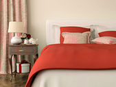 Bedroom with red decorations — Stock Photo
