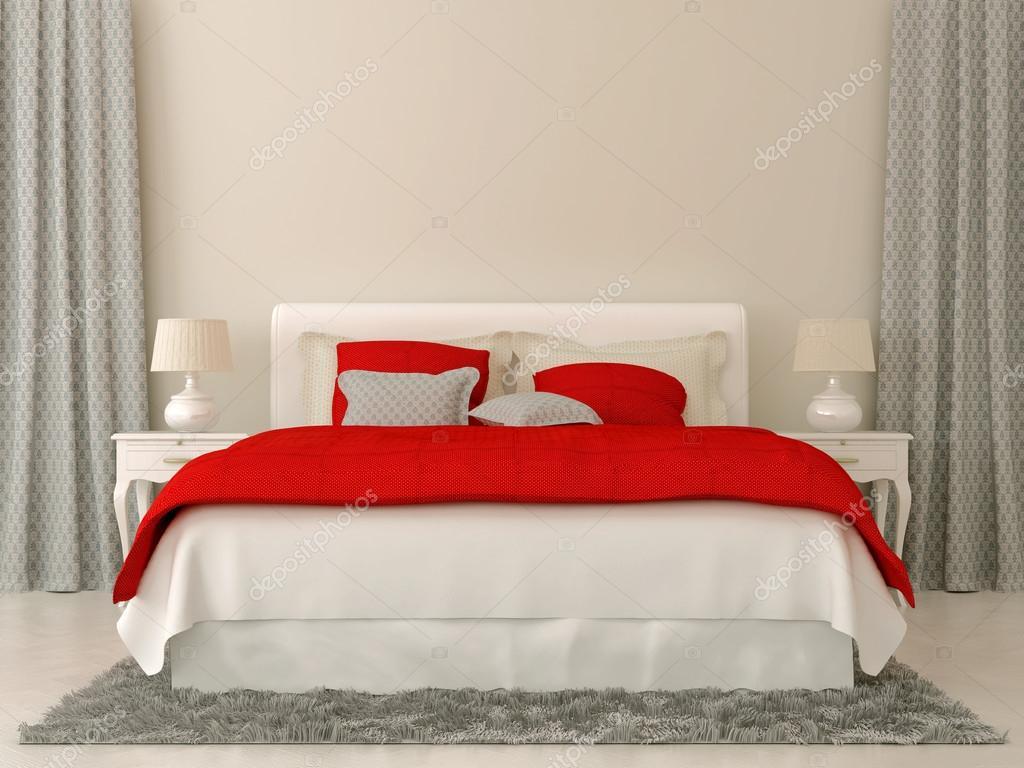 Sovrum med röd och grÃ¥ dekorationer — Stockfotografi © JZhuk #15882781