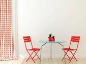 Mesa com duas cadeiras vermelhas — Fotografia Stock