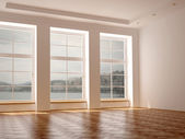 A spacious room with three large windows — Stock Photo