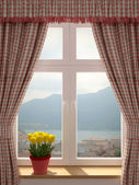 Güzel bir manzara ile pencere — Stok fotoğraf