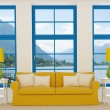 Bright interior with yellow sofa — Stock Photo