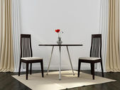 Two black chairs and a table — Stock Photo