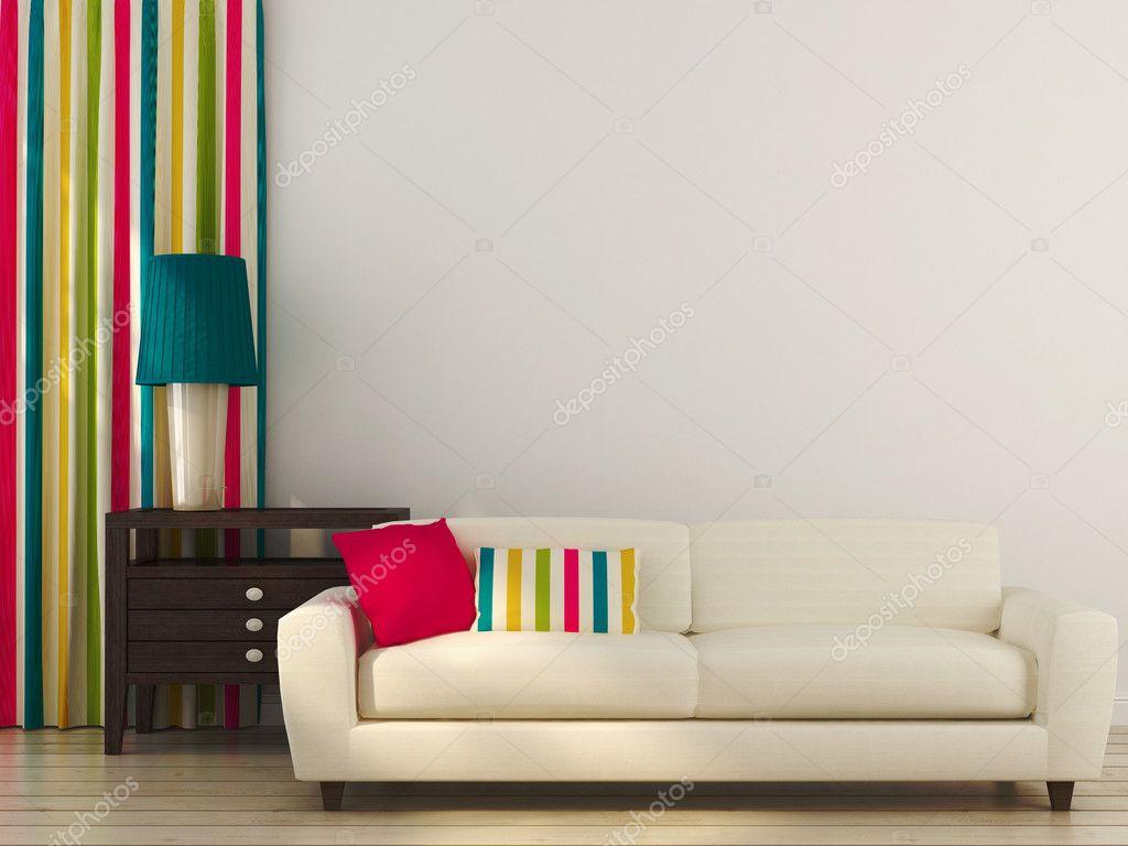 Witte bank met kleurrijke decor — stockfoto © jzhuk #28485811