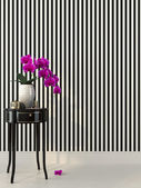 Pink orchid and striped wallpaper — Stock Photo