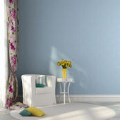 White chair and a table with tulips — Stock Photo