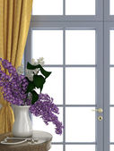 Vase with flowers against a window — Stockfoto