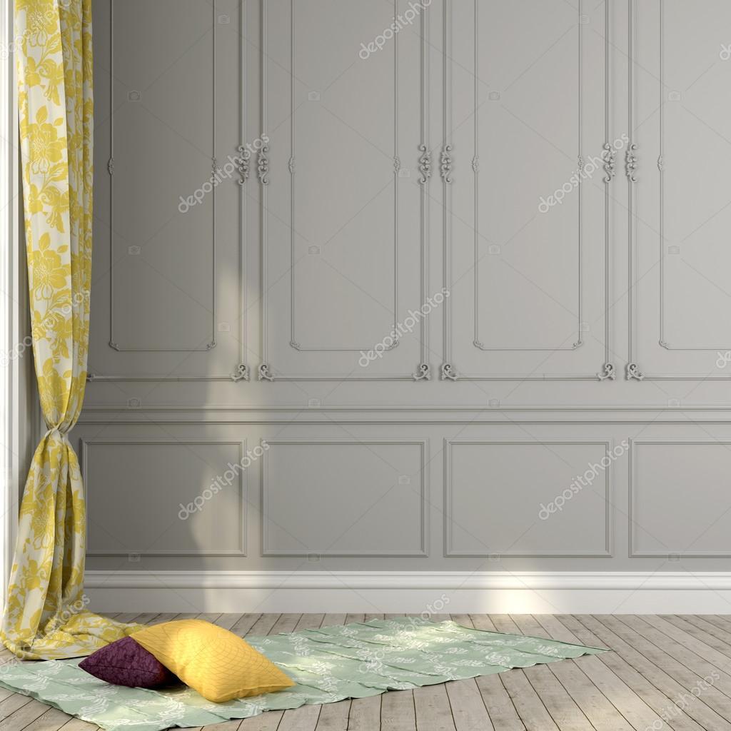 Grijze muur en gele decor — Stockfoto © JZhuk #45985349