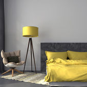 Gray bedroom and yellow decor — Stock Photo