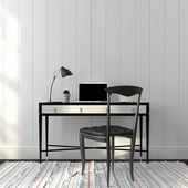 Interior de la oficina en un elegante colores blanco y negro — Foto de Stock