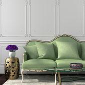 élégante salle à manger avec canapé vert et table — Photo